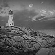 Lighthouse In The Moonlight At Peggy's Cove Nova Scotia Canada Art Print