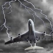 Lighting Striking An Aeroplane, Composite Art Print