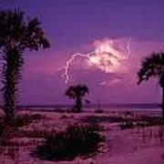 Lightning Illuminates The Purple Sky Art Print