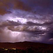 Lightning Strikes During A Thunderstorm Art Print
