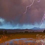Lightning Striking Longs Peak Foothills 5 Art Print