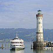 Lindau Harbor With Ship Bavaria Germany Art Print by Matthias Hauser