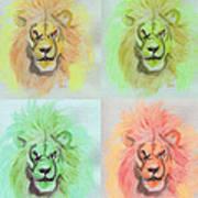 Lion X 4  Art Print