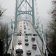 Lions Mist Lions Gate Bridge From Stanley Park Vancouver Bc Art Print by Andy Smy