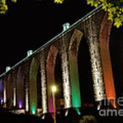 Lisbon Historic Aqueduct By Night Art Print