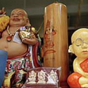 Little Buddhas In Silom In Bangkok In Thailand Art Print