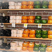 Little Cheeses On A Shelf In Amsterdam Art Print