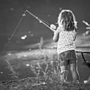 Little Fishing Girl Art Print