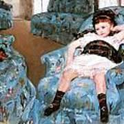 Little Girl In A Blue Armchair Art Print