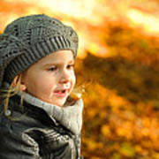 Little Girl In Autumn Leaves Scenery At Sunset Art Print