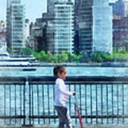 Little Girl On Scooter By Manhattan Skyline Art Print