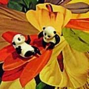 Little Glass Pandas 50 Art Print