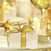 Little Gold Ribboned Gift Print by Sandra Cunningham