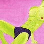 Little Green Man On Pink Art Print