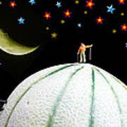 Little People Hiking On Fruits Under Starry Night Art Print