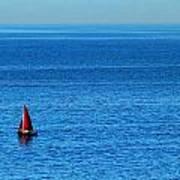 Little Red Sailboat Giant Blue Sea Art Print