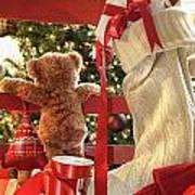Little Teddy Bear Looking Through Chair Art Print