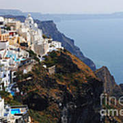 Living On The Edge In Santorini Art Print