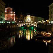 Ljubljana By Night Art Print