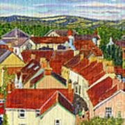 Painting Llandovery Roof Tops Art Print