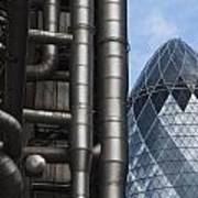 Lloyds Of London And The Gherkin Building Art Print