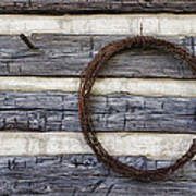 Log Cabin And Barbed Wire Art Print
