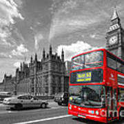 London Big Ben And Red Bus Art Print