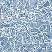 London Map Art Steel Blue Art Print
