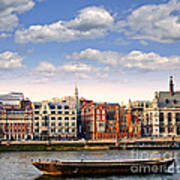London Skyline From Thames River Art Print by Elena Elisseeva