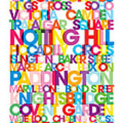 London Text Bus Blind Art Print by Michael Tompsett
