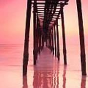 Long Exposure Wood Bridge To The Sea Art Print
