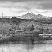 Longs Peak And Mt Meeker Sunrise At Golden Ponds Bw  Art Print
