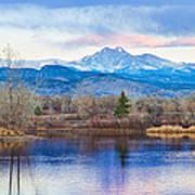 Longs Peak And Mt Meeker Sunrise At Golden Ponds Art Print