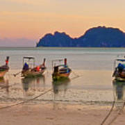 Longtail Boats On Beach At Sunset Art Print