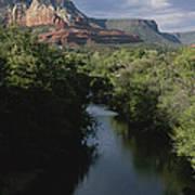 Looking Up Oak Creek At The Red Rocks Art Print