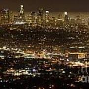 Los Angeles  City View At Night  Art Print