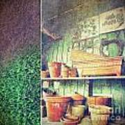 Lots Of Different Size Pots In The Shed Art Print by Sandra Cunningham