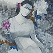 Lotus Grays Art Print