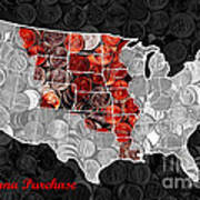 Louisiana Purchase Coin Map . V1 Art Print