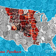 Louisiana Purchase Coin Map   V2 Metal Print