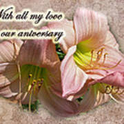 Love On Anniversary - Lilies And Lace Art Print