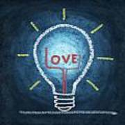 Love Word In Light Bulb Art Print