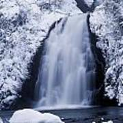 Low Angle View Of A Waterfall, Glenoe Art Print
