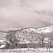 Low Clouds On The Colorado Rocky Mountain Foothills 3 Bw Art Print