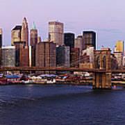 Lower Manhattan Skyline And Brooklyn Bridge At Dawn Art Print