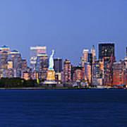 Lower Manhattan Skyline At Dusk Art Print by Jeremy Woodhouse