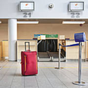 Luggage At An Airline Check-in Counter Art Print by Jaak Nilson