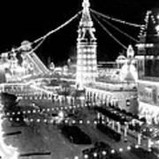 Luna Park - Coney Island - New York At Night - C 1903  Art Print
