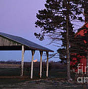 Lunar Eclipse At The Farm Art Print
