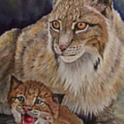 Lynx Mom And Baby Art Print